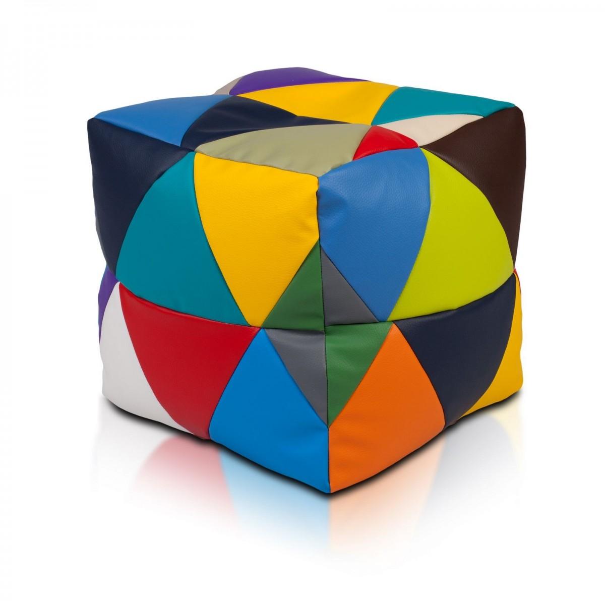 Pufa Cube Small Ekoskóra Mix